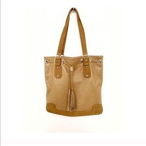 Maurizio Taiuti Tan Camel Leather Tote Handbag Bag